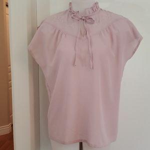 Vintage Pink Frill Tie Blouse Large M-L 36-38